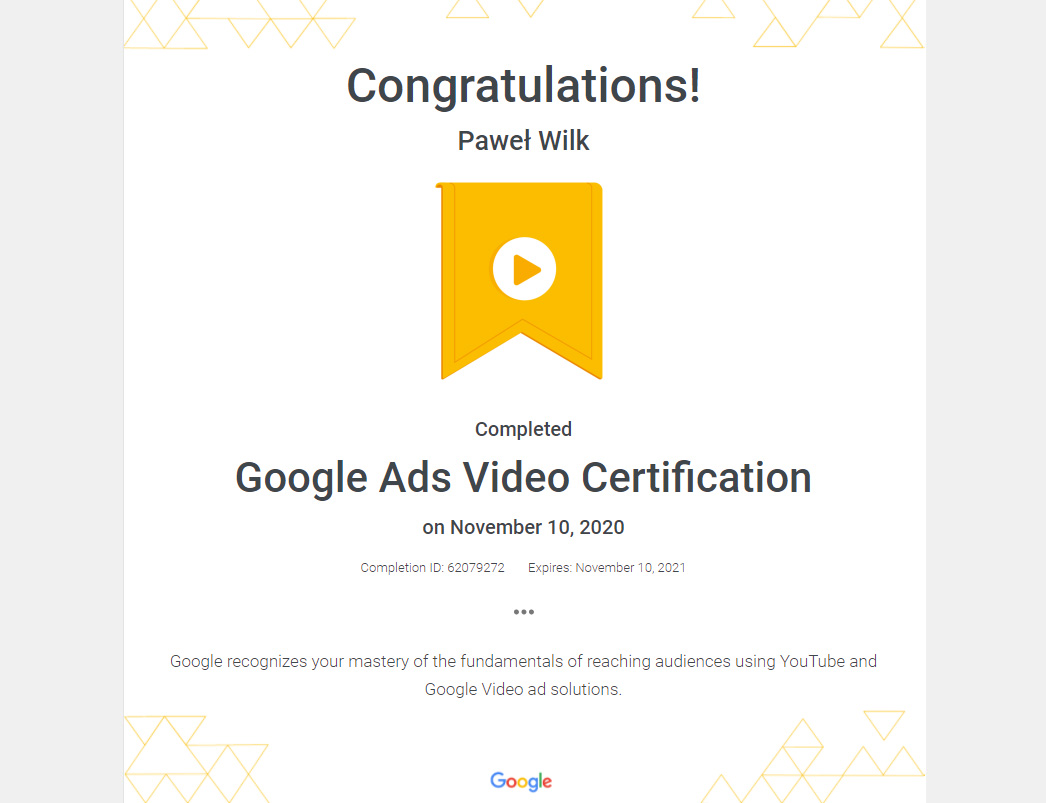 AdWords reklama wideo