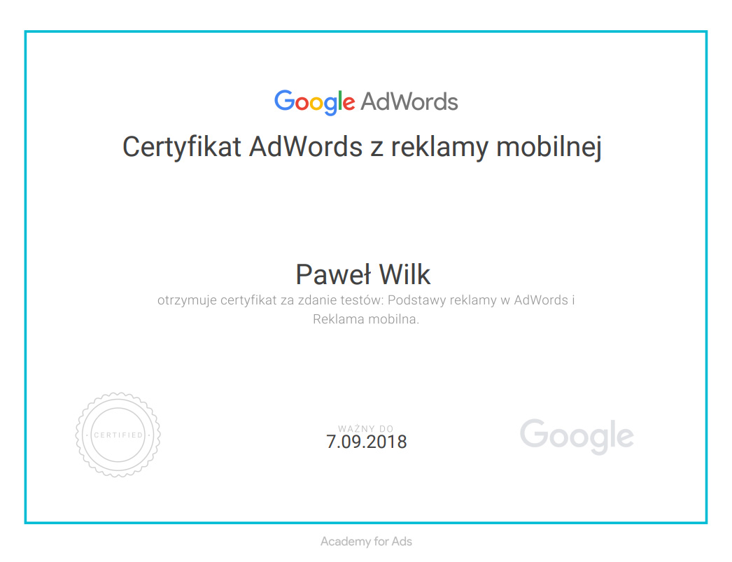 Google AdWords reklama mobilna